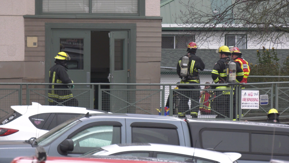 Firefighters put out a blaze in a storage room at Brechin Elementary in Nanaimo, Wed., April 3, 2019. (CTV Vancouver Island)