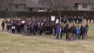 A.B. Lucas students walk out of class as part of an Ontario-wide protest in London, Ont. on Thursday, April 4, 2019. (Adrienne South / CTV London)