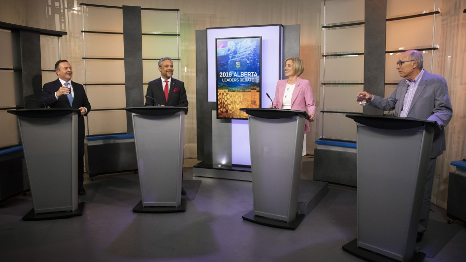 United Conservative Party leader Jason Kenney, left to right, Alberta Liberal Party leader David Khan, Alberta New Democrat Party leader and incumbent premier Rachel Notley and Alberta Party leader Stephen Mandel take their places during the 2019 Alberta Leaders Debate in Edmonton, Alta., on Thursday, April 4, 2019. THE CANADIAN PRESS/Codie McLachlan