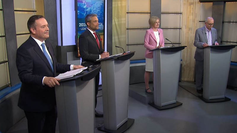 UCP Leader Jason Kenney, Liberal Party Leader David Khan, NDP Leader Rachel Notley and Alberta Party Leader Stephen Mandel participated in the 2019 Alberta Leaders Debate at CTV Edmonton.