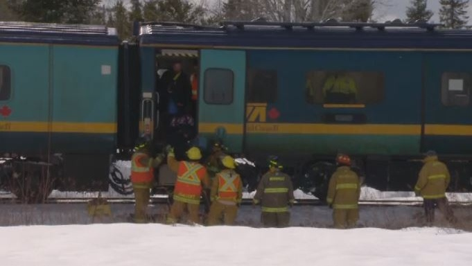 No one was injured when two cars of a Via Rail passenger train derailed outside Moncton on April 4, 2019.