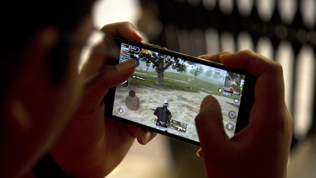 Playing PUBG on a mobile phone