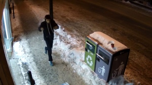 A surveillance camera captured this image of a suspect in a stabbing that happened on Monk Blvd. on the morning of Feb. 2, 2019. (Photo: SPVM)