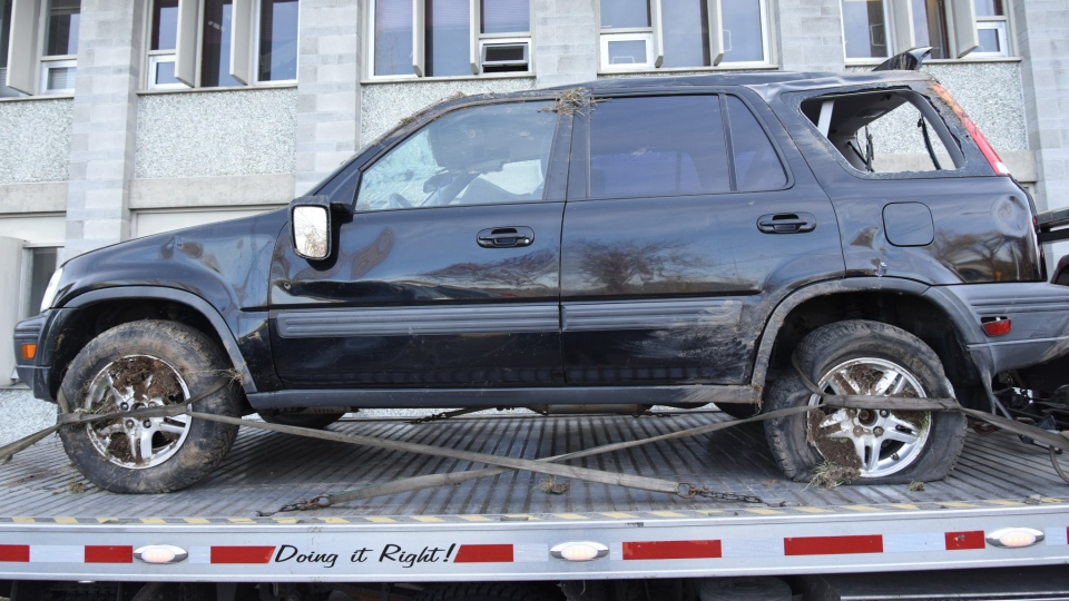 Police say a 29-year-old woman with no fixed address stole this Honda CRV and crashed it on the Pat Bay Highway. (Saanich Police Department)