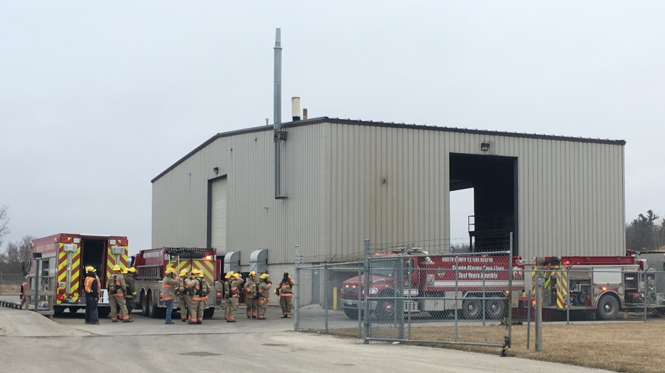 Fire crews at an industrial building