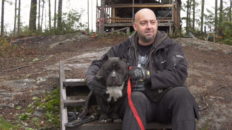 Mike Germunstad and his pitbull, Shorty. (CTV Vancouver island)