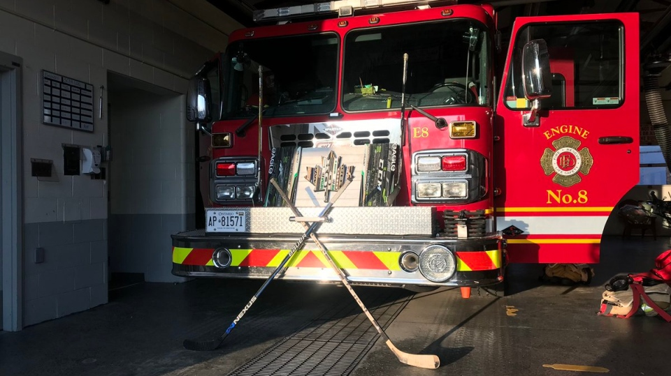 The London Professional Fire Fighters Association shared this image of hockey sticks in front of a fire truck on Saturday, April 6, 2019. (LPFFA/ Twitter)