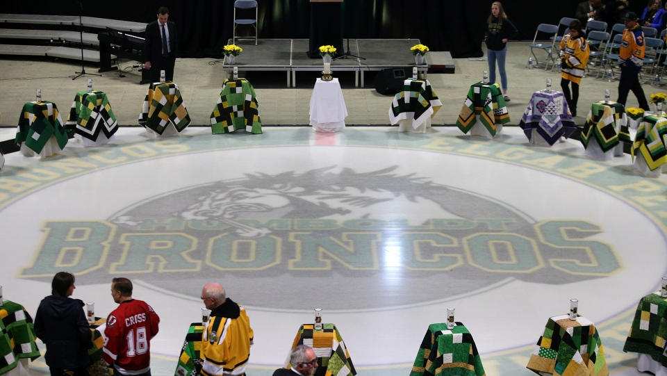 People begin to gather prior to the Humboldt Broncos memorial service at Elgar Petersen Arena in Humboldt, Saskatchewan on Saturday, April, 6, 2019. THE CANADIAN PRESS/POOL-Liam Richards