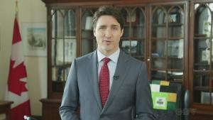 PM Justin Trudeau delivers a message
