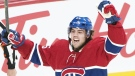 Montreal Canadiens' Ryan Poehling celebrates after scoring against the Toronto Maple Leafs during first period NHL hockey action in Montreal, Saturday, April 6, 2019. (THE CANADIAN PRESS / Graham Hughes)