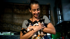 In this Thursday, April 4, 2019 photo, Grettel Montes de Oca Valdes, a professional dancer and founder of the group Cubans in Defense of Animals poses with four kittens that she has received in her house in Havana, Cuba. (AP Photo/Ramon Espinosa)