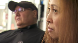 Rosemarie Elisan, 44, sits next to husband Nick Ciarallo. After an extended fight, Elisan's oncologist convinced the RAMQ to cover the $10,000 monthly cost of of immunotherapy medication that will slow the development of the stage IV lung cancer that metastasized to her brain. (CTV Montreal)
