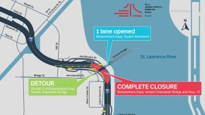 The Bonaventure Expressway towards the Champlain Bridge will be closed on Friday night until Saturday afternoon. (Graphic: Jacques Cartier and Champlain Bridge Corporation)