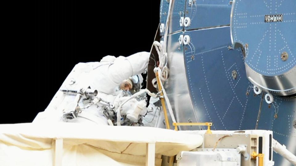 Canadian astronaut David Saint-Jacques performs a spacewalk on Monday, April 8, 2019.