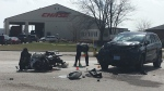 One person has been taken to hospital after a collision between a motorcycle and SUV on County Road 42 in Tecumseh, Ont, Monday, April 8, 2019. (Chris Campbell / CTV Windsor)
