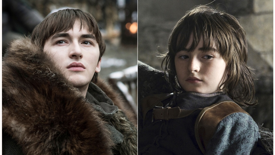 "This combination photo of images released by HBO shows Isaac Hempstead Wright portraying Bran Stark in ""Game of Thrones."" The final season of the popular series premieres on April 14. (HBO via AP)"