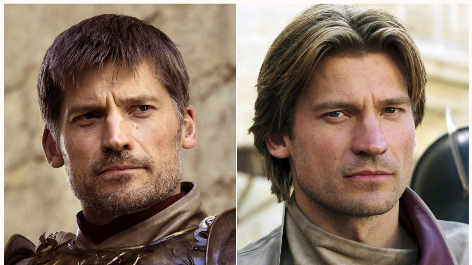 "This combination photo of images released by HBO shows Nikolaj Coster-Waldau portraying Jaime Lannister in ""Game of Thrones."" The final season of the popular series premieres on April 14. (HBO via AP)"
