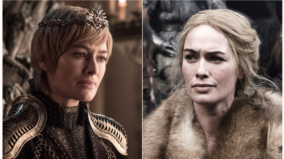 "This combination photo of images released by HBO shows Lena Headey portraying Cersei Lannister in ""Game of Thrones."" The final season of the popular series premieres on April 14. (HBO via AP)"