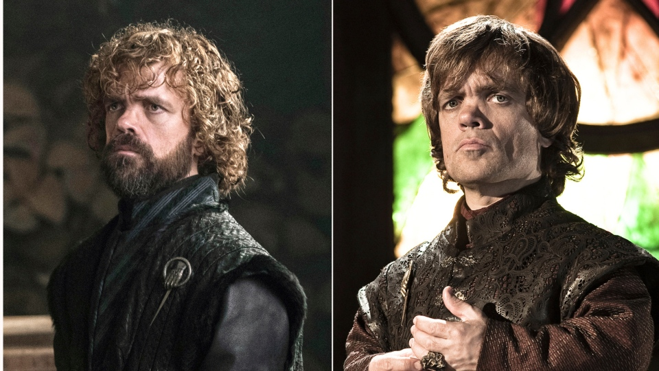 "This combination photo of images released by HBO shows Peter Dinklage portraying Tyrion Lannister in ""Game of Thrones."" The final season of the popular series premieres on April 14. (HBO via AP)"