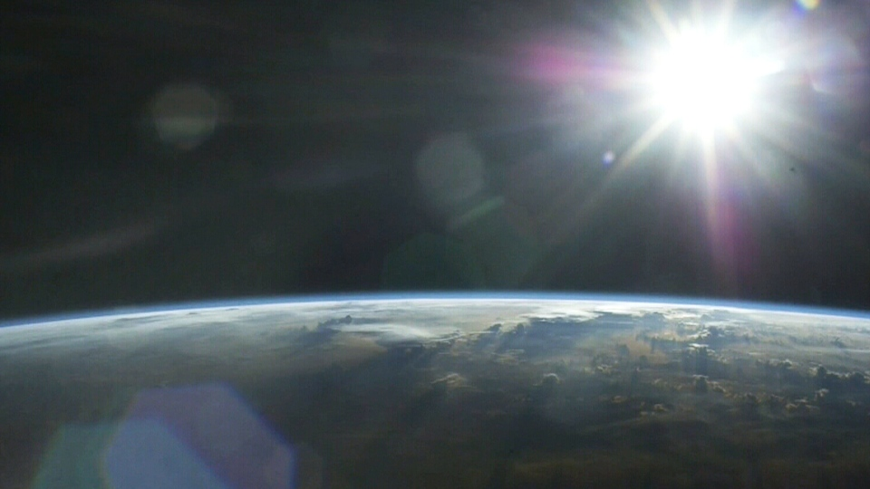 A photo of the horizon taken by Chris Hadfield during his time on the International Space Station.