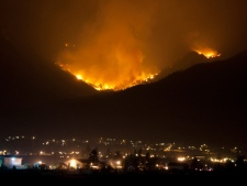 The entire district of Lillooet and the surrounding First Nations reserves have been evacuated as the blaze burns just one kilometre from town on Sunday, Aug. 3, 2009. (B.C. Forest Service)