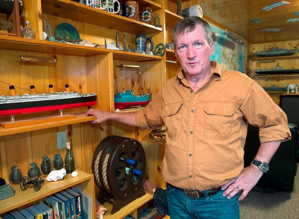 Duane Dauphinee, an underwater archaeologist and treasure salvager, reflects on the state of undersea treasure recovery at home in Williamswood, N.S. on Monday, April 1, 2019. THE CANADIAN PRESS/Andrew Vaughan
