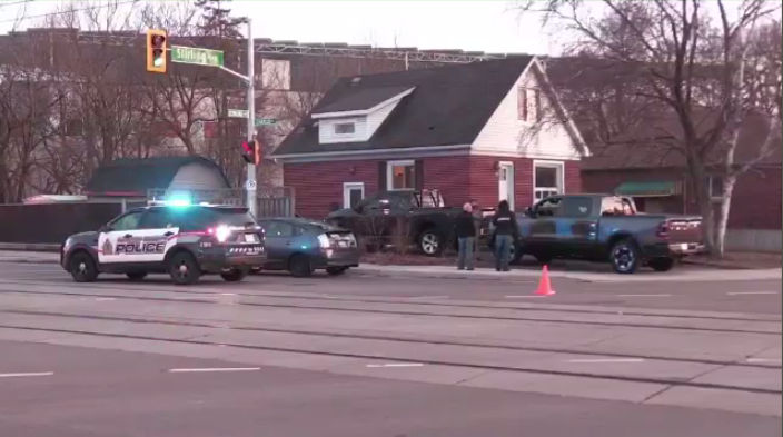A skateboarder and vehicle collided at the intersection of Charles Street and Sterling in Kitchener (CTV Kitchener)