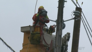 Hydro Quebec repair crews were hard at work on April 8, 2019, fixing power lines damaged by freezing rain.