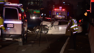 The driver of this car was seriously injured when they hit an 18-wheeler truck that was backing up on the Ville Marie Expressway on April 9, 2019 (CTV Montreal/Cosmo Santamaria)
