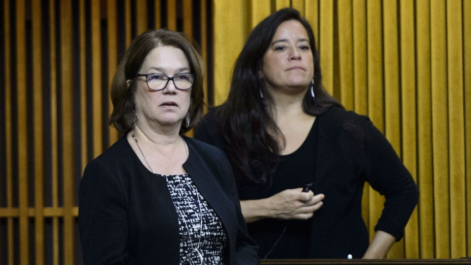 Independent MPs Jane Philpott and Jody Wilson-Raybould vote in the House of Commons on Parliament Hill in Ottawa on Tuesday, April 9, 2019. THE CANADIAN PRESS/Sean Kilpatrick