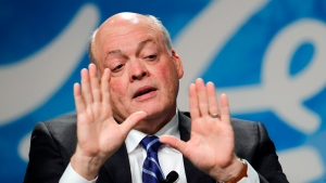In this Monday, May 22, 2017, file photo, Ford Motor Co. CEO Jim Hackett speaks after being introduced as the automaker's new chief executive in Dearborn, Mich. (AP Photo/Paul Sancya, File)