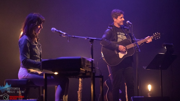 Moon vs Sun, the first-time collaboration between couple Chantal Kreviazuk and Our Lady Peace frontman Raine Maida, came to the McPherson Playhouse in Victoria as part of a cross-Canada tour. April 8, 2019. (Adam Lee/Victoria Music Scene)
