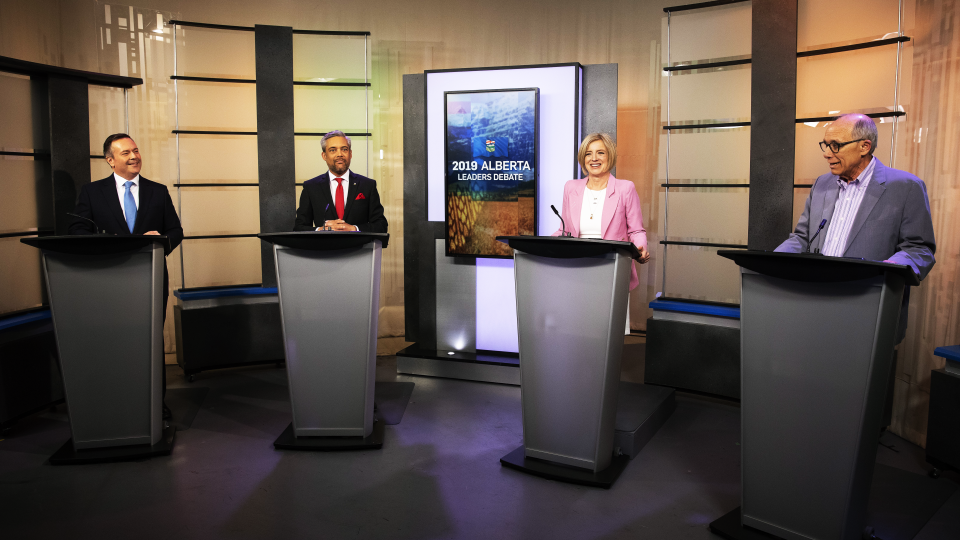 Left to right: UCP Leader Jason Kenney, Alberta Liberal Party Leader David Khan, Alberta NDP Leader and incumbent premier Rachel Notley and Alberta Party Leader Stephen Mandel square off during the 2019 Alberta Leaders Debate in Edmonton, Alta., on Thursday, April 4, 2019.