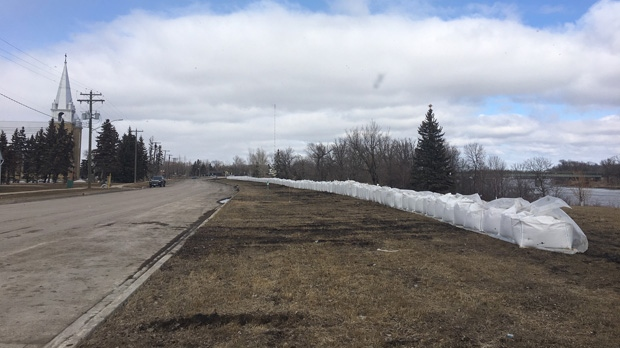 Super sandbags along the Red River in Ste. Agathe