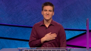 This image made from video aired on 'Jeopardy!' on Tuesday, April 9. 2019, and provided by Jeopardy Productions, Inc. shows James Holzhauer. (Jeopardy Productions, Inc. via AP)