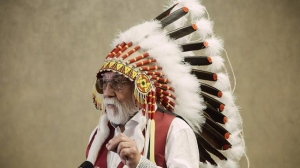 Chief Archie Waquan speaks at a press conference in Edmonton on October 11, 2018. Northern Alberta Indigenous leaders warn watering down the federal government's proposed environmental assessment law will only doom energy projects to more years of court wrangling. THE CANADIAN PRESS/Amber Bracken