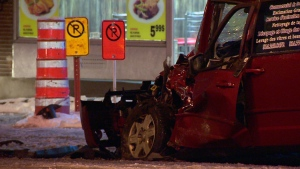 Montreal police said the driver of a minivan was trapped following a head-on crash on Pie IX Blvd. (CTV Montreal/Cosmo Santamaria)