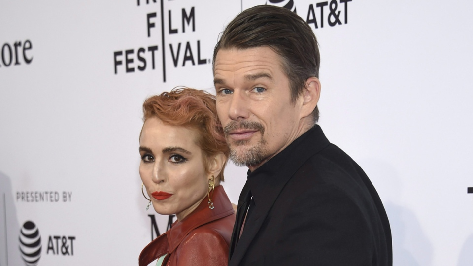 Noomi Rapace, left, and Ethan Hawke attend the screening for 'Stockholm' during the 2018 Tribeca Film Festival, on April 19, 2018. (Evan Agostini / Invision / AP)