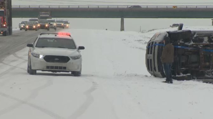 A number of vehicles slid off Highway 102 during the morning commute on April 10, 2019. Roads were slick after a spring storm.