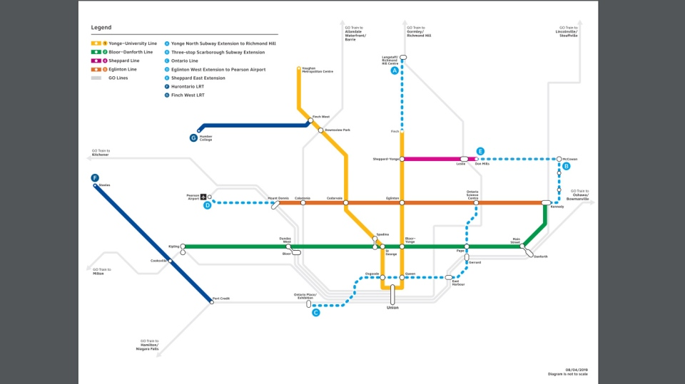 A rendering of what the transit system in Toronto would look like under Ford's newly announced plan. (Courtesy of the Ontario government)