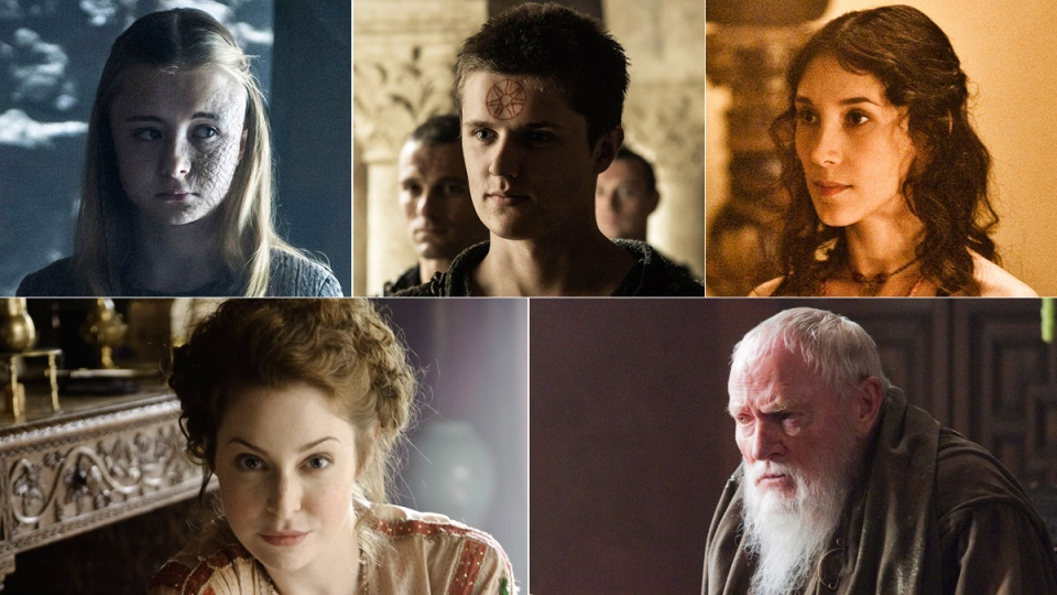 Clockwise from top left, Kerry Ingram portraying Shireen Baratheon, Eugene Simon portraying Lancel Lannister, Sibel Kekilli portraying Shae, Julian Glover portraying Grand Maester Pycelle and Esme Bianco portraying Ros in the HBO series 'Game of Thrones.' (HBO via AP)