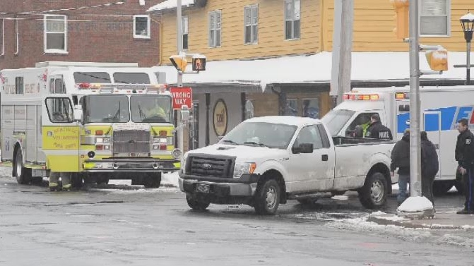 Emergency crews respond to a pedestrian collision in Kentville, N.S., on April 10, 2019. (Bill Roberts)