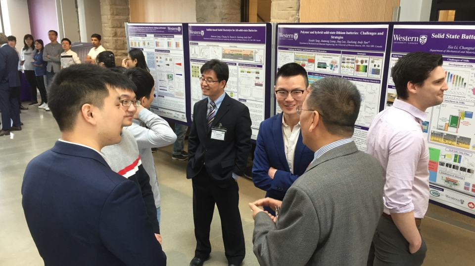 Researchers in Western University's Faculty of Engineering chat at announcement on solid state battery research in London, Ont. on Wednesday, April 10, 2019. (Bryan Bicknell / CTV London)