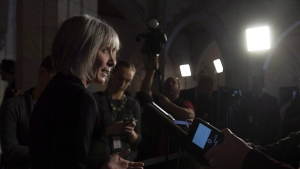 Employment, Workforce Development and Labour Minister Patricia Hajdu speaks to the media in Ottawa on November 23, 2018. (THE CANADIAN PRESS/Adrian Wyld)