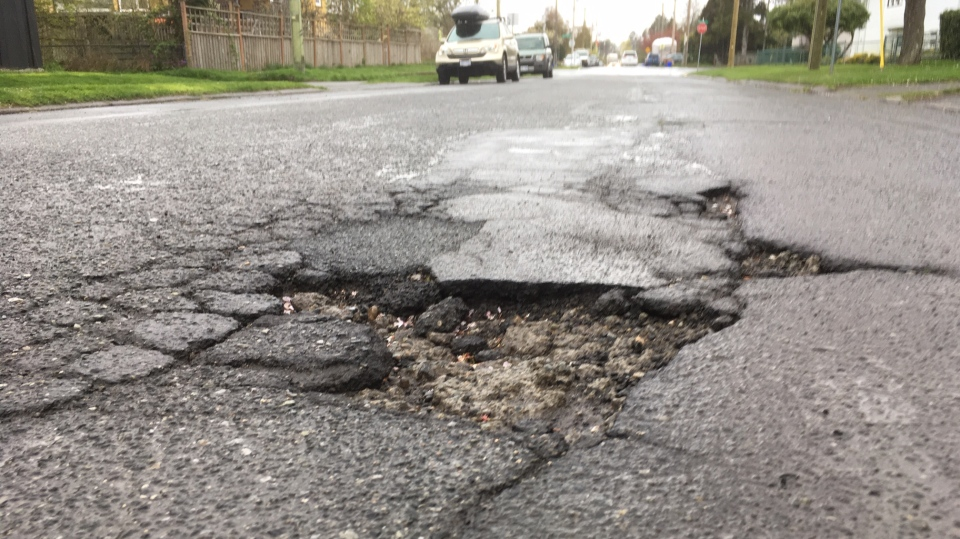 The contest may be tongue-in-cheek but the issue of bad roads is a serious one. (CTV Vancouver Island)