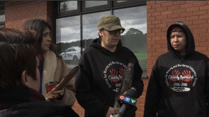The three women who were arrested on April 10, 2019, speak outside the RCMP detachment in Enfield after they were released. From left, Darlene Gilbert, Kukuwis Wowkis, and Kiju Muin.