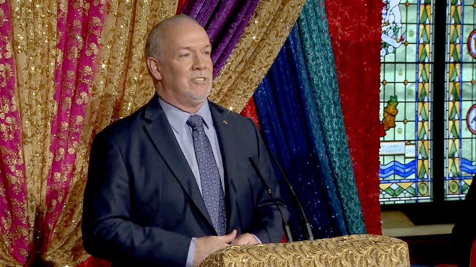 B.C. Premier John Horgan speaks at an event in Victoria on April 10, 2019.