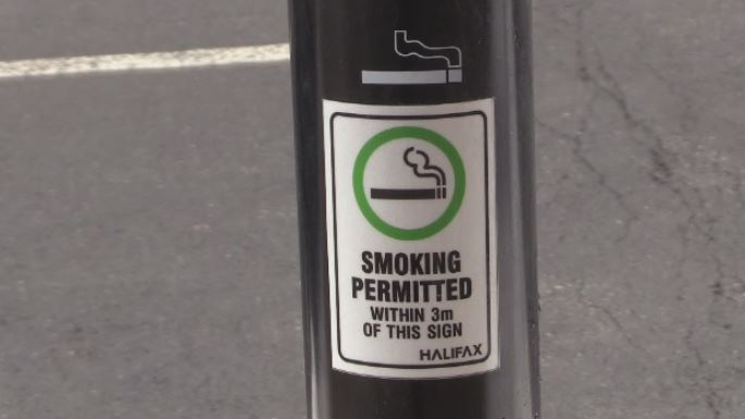 A smoking receptacle is seen in Halifax. Smokers in the Halifax Regional Municipality can only legally light up in designated smoking areas.