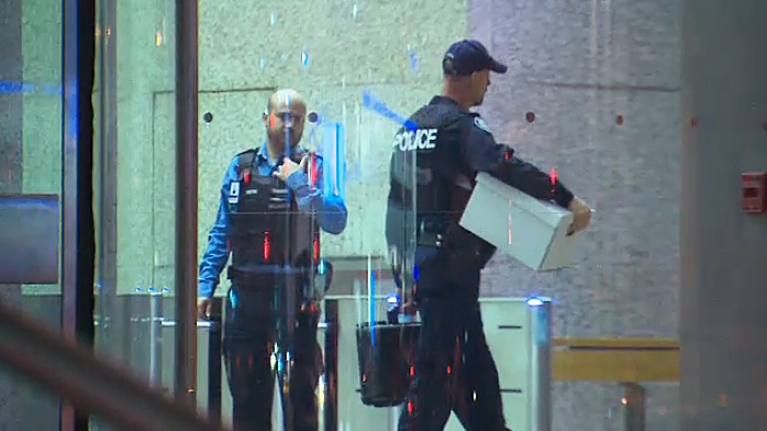 Toronto police at the scene of a fatal stabbing inside the PATH system in the city's downtown core on April 10, 2019.