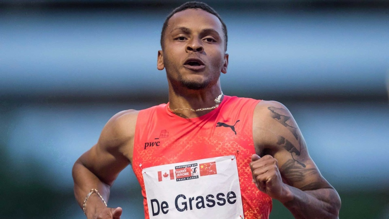 Andre De Grasse sprints to a third-place finish during the Canada-China challenge men's 100 metre race at the Harry Jerome International Track Classic, in Burnaby, B.C., on Tuesday, June 26, 2018. THE CANADIAN PRESS/Darryl Dyck